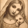 Oval Madonna Drawing by Ananda Vdovic