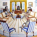 Oval Office Ghost With President Obama  by Kenneth Michur