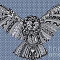Owl In Flight Bubbles by Karen Larter