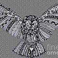 Owl In Flight Grey by Karen Larter