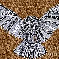Owl In Flight Leopard by Karen Larter