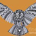 Owl In Flight Orange by Karen Larter