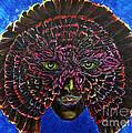 Owl Mask Self Portrait by Linda Falorio