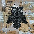 Owl On Burlap2 by Kyle Wood