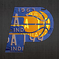Pacers Basketball Team Logo Vintage Recycled Indiana License Plate Art by Design Turnpike