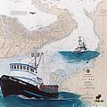 Pacific Dream Crab Fishing Boat Nautical Chart Art by Cathy Peek