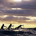 Paddlers Silhouetted by Vince Cavataio - Printscapes