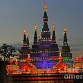 Pagoda Lantern Made With Porcelain Dinnerware At Sunset by Lingfai Leung