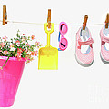 Pail And Shoes On White by Sandra Cunningham