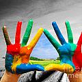 Painted Colorful Hands Showing Way To Colorful Happy Life by Michal Bednarek
