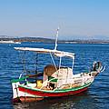 Painted Fishing Boat In Corfu Greece by Eva Kaufman