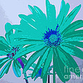 Painterly Flowers In Teal And Blue Pop Art Abstract by Adri Turner
