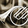 Painting Of A French Horn Antique Classic In Sepia 3430.01 by M K Miller