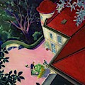Painting Of A House With A Patio by Walter Buehr