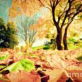 Painting Of Autumn Fall Landscape In Park by Michal Bednarek