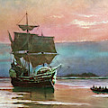 Painting Of The Ship The Mayflower 1620 by Vintage Images