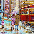 Paintings Of Fifties Montreal-downtown Streetcar-vintage Montreal Scene by Carole Spandau