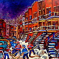Paintings Of Montreal Hockey On Du Bullion Street by Carole Spandau