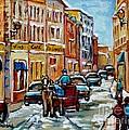 Paintings Of Old Port Quebec Vieux Montreal Memories Rue Notre Dame Snowscenes Art Carole Spandau by Carole Spandau