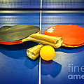 Pair Of Ping-pong Bats Table Tennis Paddles Rackets On Blue by Beverly Claire Kaiya