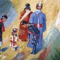 Paiute Children Dressed For The Powwow by Gretchen Jones