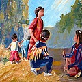 Paiute Indian Children Playing At The Powwow by Gretchen Jones