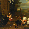Palace Garden Exotic Birds And Farmyard Fowl by Melchior de Hondecoeter