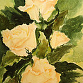 Pale Yellow Roses by Sandra Stone