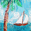Palm Tree And Sailboat By Jan Marvin by Jan Marvin