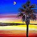 Palmetto Sunset Moon And Stars by Patricia L Davidson