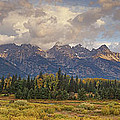 Panaroma Clearing Storm On A Fall Morning In Grand Tetons National Park by Dave Welling