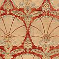 Panel Of Red Cut Velvet With Carnation by Turkish School