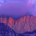 Panorama Alpenglow On Mount Whitney Eastern Sierras California by Dave Welling
