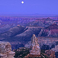 Panorama Moonrise Over Point Imperial Grand Canyon National Park by Dave Welling
