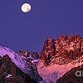 Panorama Moonset Middle Palisades Glacier Eastern Sierras California by Dave Welling