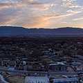 Panorama Of Albuquerque And Sandia Mountain At Sunrise From Pat Hurley Park - Albuquerque New Mexico by Silvio Ligutti