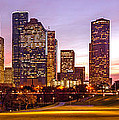 Panorama Of Downtown Houston At Dawn From Eleanor Tinsley Park - Houston Texas Harris County by Silvio Ligutti