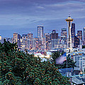 Panorama Of Downtown Seattle And Space Needle From Kerry Park At Dusk - Seattle Washington State by Silvio Ligutti