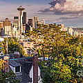 Panorama Of Downtown Seattle And Space Needle From Kerry Park - Seattle Washington State by Silvio Ligutti
