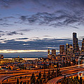 Panorama Of Downtown Seattle From Jose Rizal Park - Seattle Washington by Silvio Ligutti