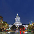 Panorama Of The Texas State Capitol At Christmas by Rob Greebon