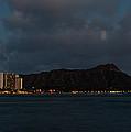 Panorama - Waikiki And Diamond Head In Honolulu Hawaii Skyline At Night by Georgia Mizuleva