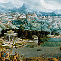 Panorama With The Abduction Of Helen Amidst The Wonders Of The Ancient World by Maerten van Heemskerck