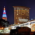 Panoramic Cleveland Night by Frozen in Time Fine Art Photography