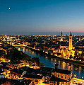 Panoramic Of Verona At Dusk by Matteo Colombo