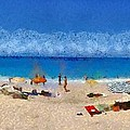 Panoramic Painting Of Porto Katsiki Beach by George Atsametakis