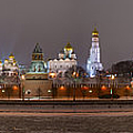 Panoramic View Of Moscow River And Moscow Kremlin In Wintertime by Alexander Senin