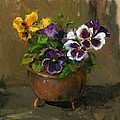 Pansies In Copper Pot by Linda Dunbar