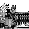 Paris Black And White Photography - Louvre Museum Pyramid Black White Architecture Landmark by Kathy Fornal