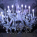 Paris Blue Crystal Chandelier Sparkling Chandelier Art - Paris Blue Shimmering Chandelier Art Deco  by Kathy Fornal